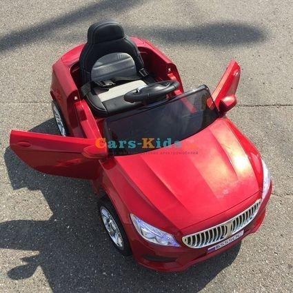 Электромобиль БМВ Б555ОС красный (резиновые колеса, кожа, пульт, музыка, глянцевая покраска)