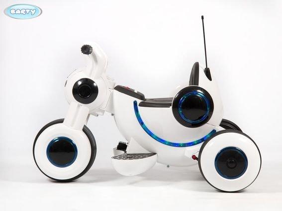 Детский электромотоцикл Y-MAXI YM77 белый (музыка, световые эффекты, мягкие колеса EVA)
